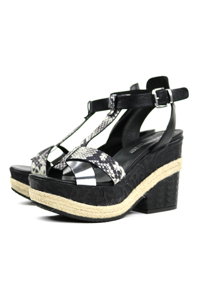 Embossed Combination Leather Espadrille Wedge Sandals