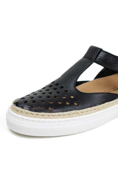 Perforated Dot Leather Sneaker Sandals
