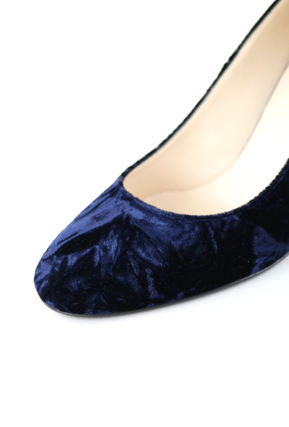 Crushed Blue Velvet Pumps