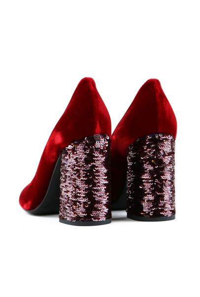 Paette Embroidered Red Velvet Pumps