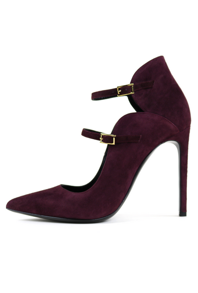 Burgundy Suede Double Strap Pump Booties