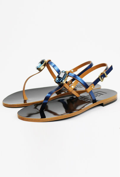 Metallic Leather Crystal Thong Sandals