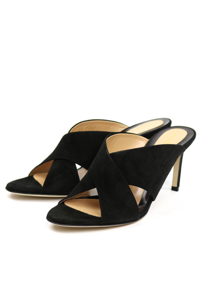 Crossover Suede Mid-Heel Mules