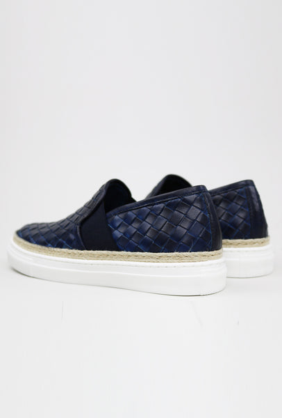 Basket Weave Leather Espadrille Sneakers