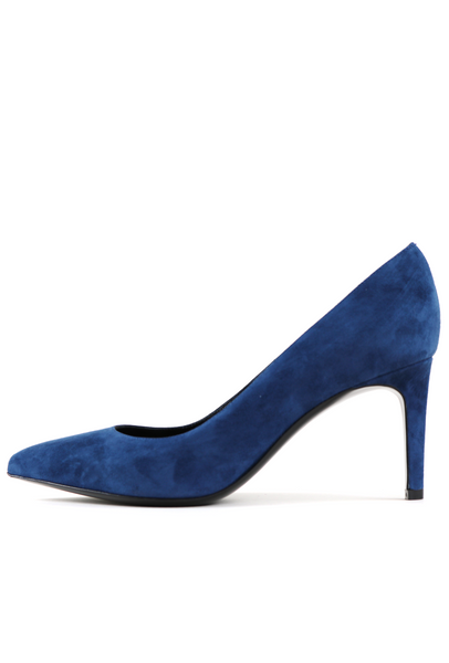 Denim Coloured Suede Mid-Heel Pump