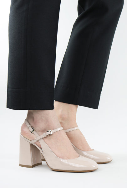 Patent Mary-Jane Sandals with Chunky Heel