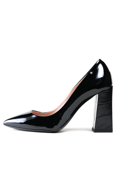 Patent Leather Black Pump with Crocodile Print Heel