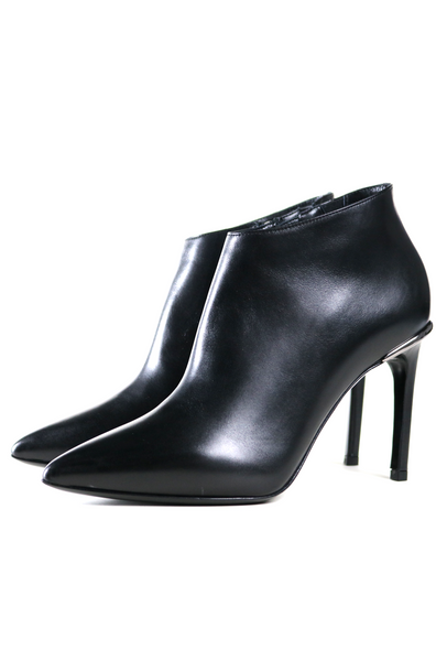 Black Smooth Leather Ankle Boots