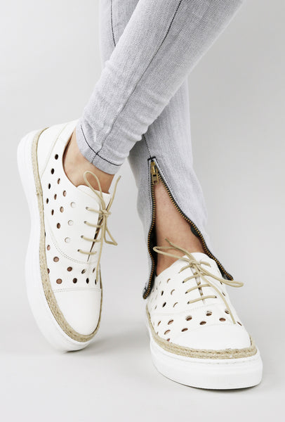 Perforated Polka Dot Leather Espadrille Sneakers