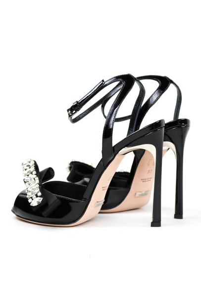 Open Toe Crystal Bow Embellished Sandals