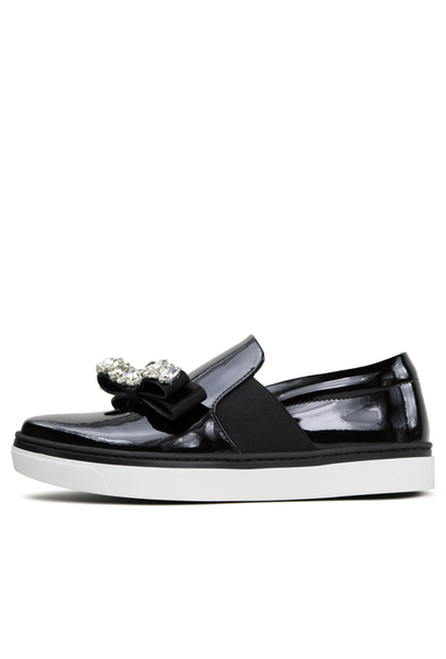Patent Leather Crystal Bow Embellished Sneakers