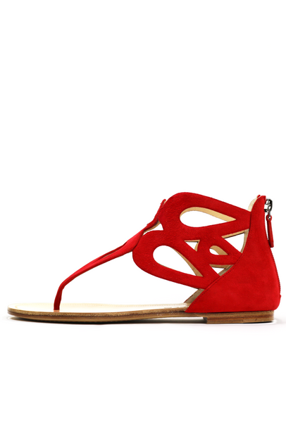 Lipstick Red Suede Grecian Style Sandals