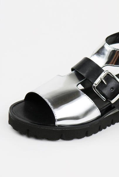 Silver Foiled Leather Strap Sandals