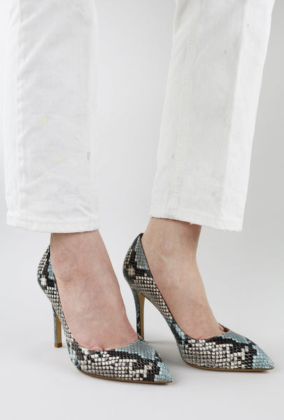 Faux Snake Print Pumps Sky Blue