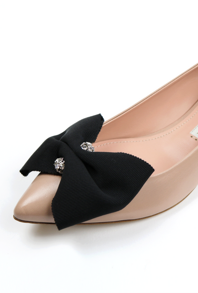 Ribbon Bow Beige Flats with Hidden Heel
