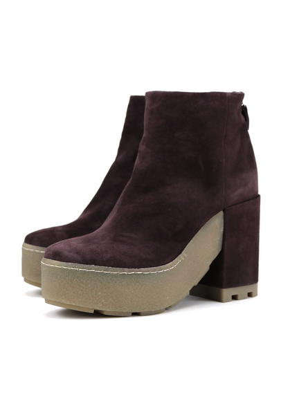 Burgundy Suede Rubber Sole Ankle Boots