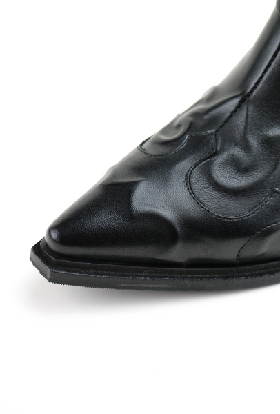 Black Embossed Leather Western Ankle Boots