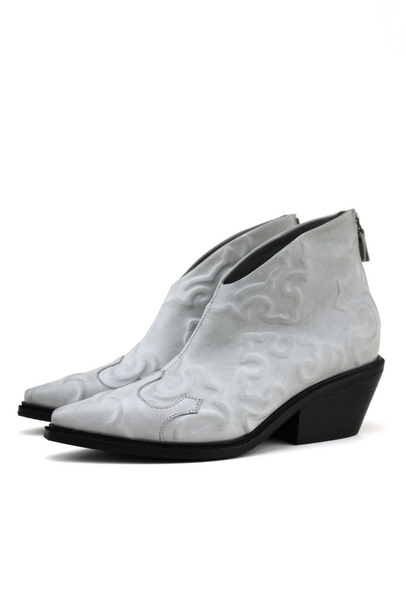 Off-White Embossed Leather Western Ankle Boots