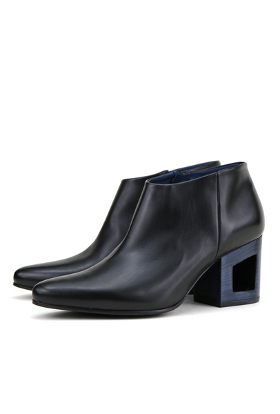 Leather Ankle Boots with Blue Frame Heel
