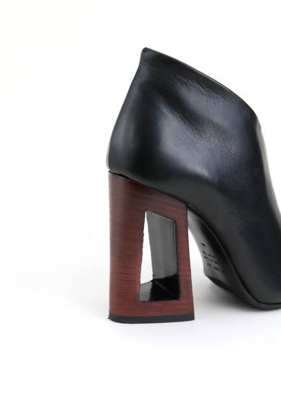 Leather Ankle Boots with Red Frame Heel