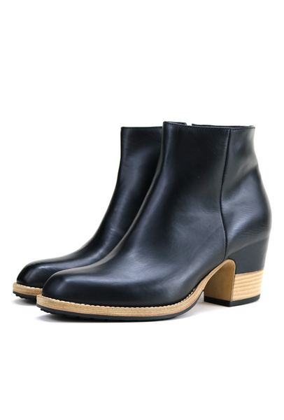 Black Leather Mid Heel Boots
