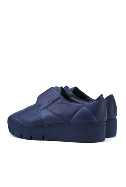 Quilted Blue Leather Flatforms with Rubber Sole