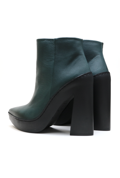 Forest Green Rubber Heeled Ankle Boots