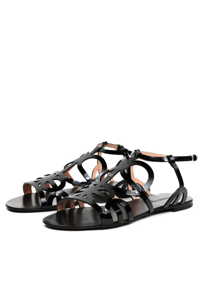Patent Cut-Out Flat Sandal