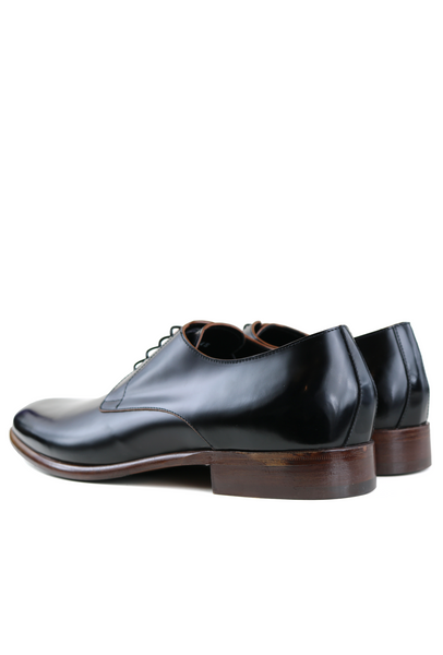 Polished Black Leather Classic Derby Shoes
