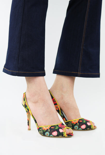 Floral Print Fabric and Leather Sandals