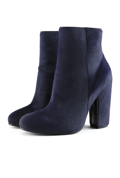 Deep Blue Pony Hair Ankle Boots