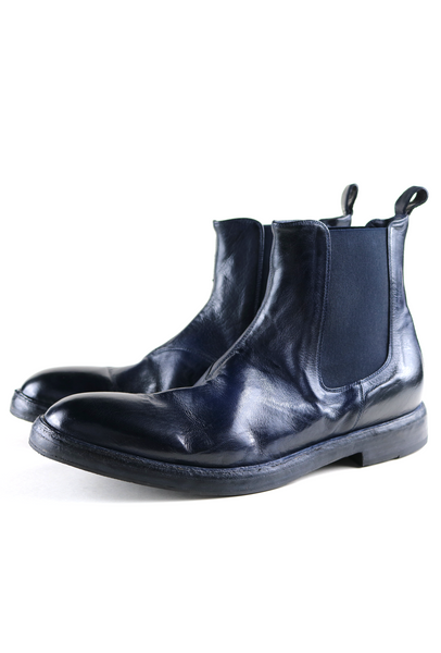 Navy Leather Low Boots