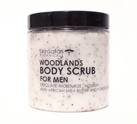 All Natural Body Scrub for Men, with African Shea Butter and Woodland Essential Oils