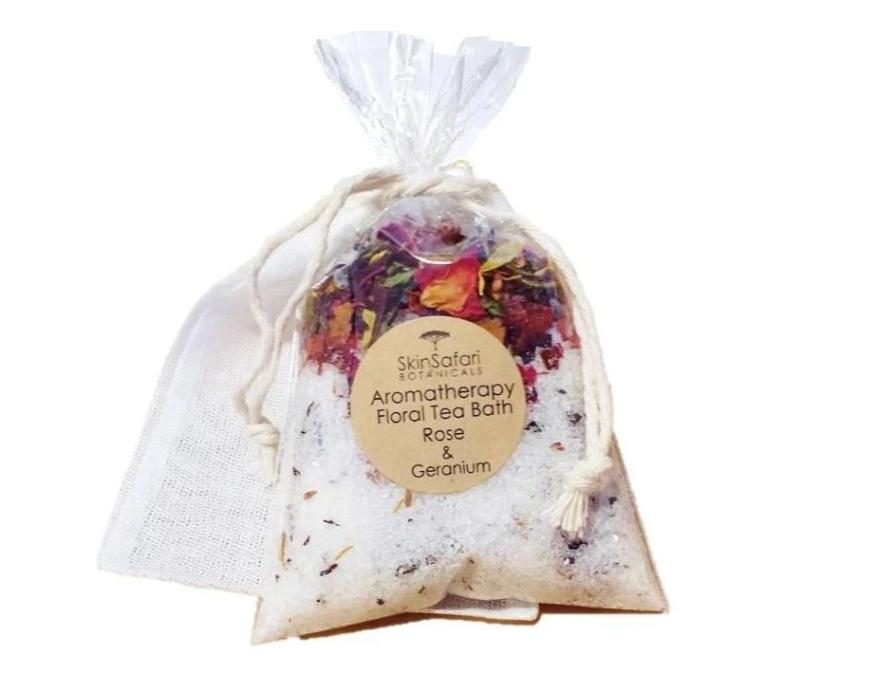 Bath Tea Salt Favors with organic teas and herbs and essential oils