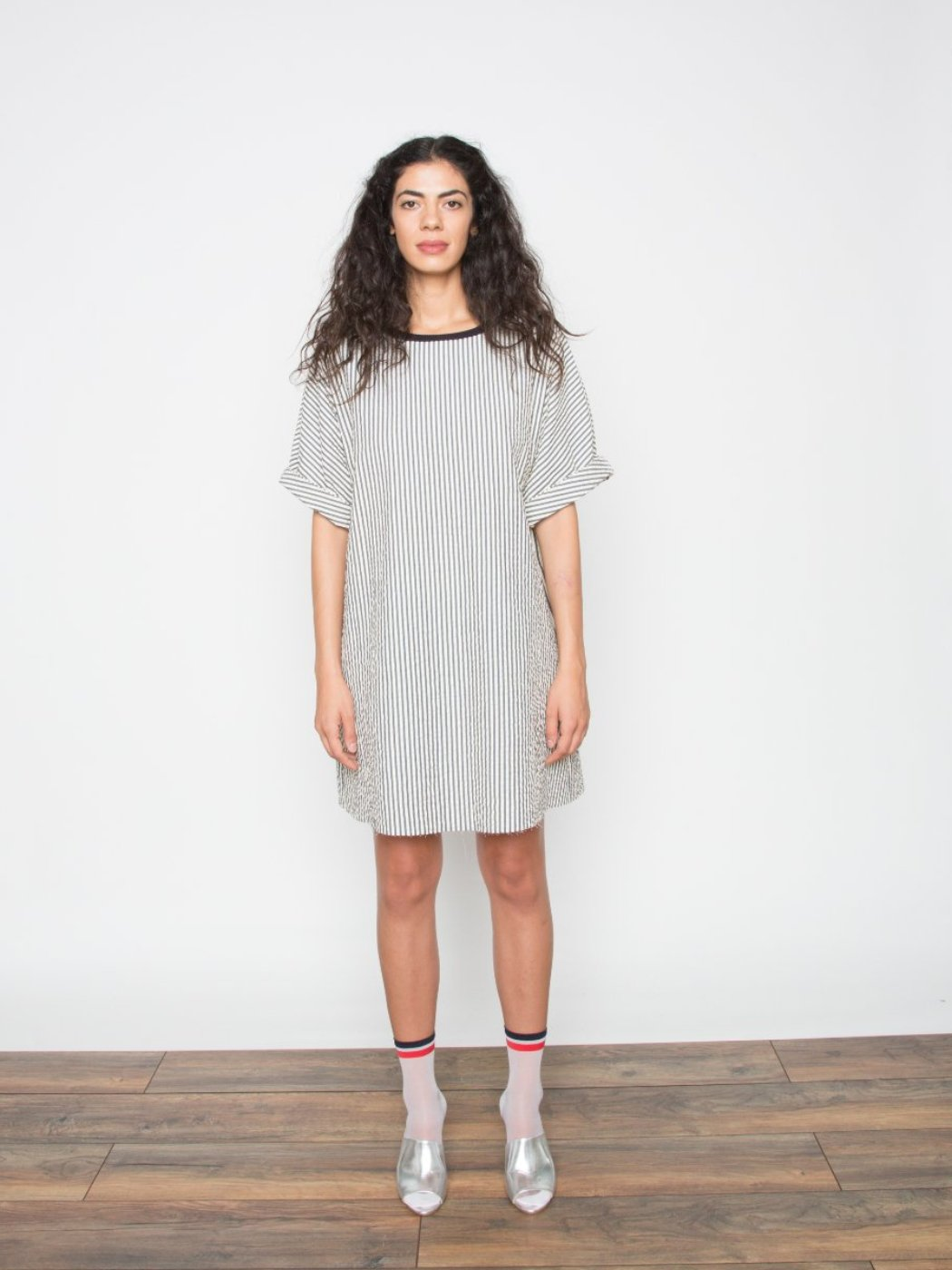 Eden Seersucker Stripe Tee Dress