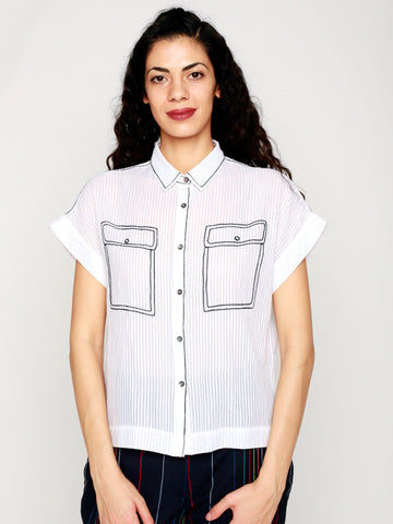 Pockets Embroidered Abbreviated Shirt