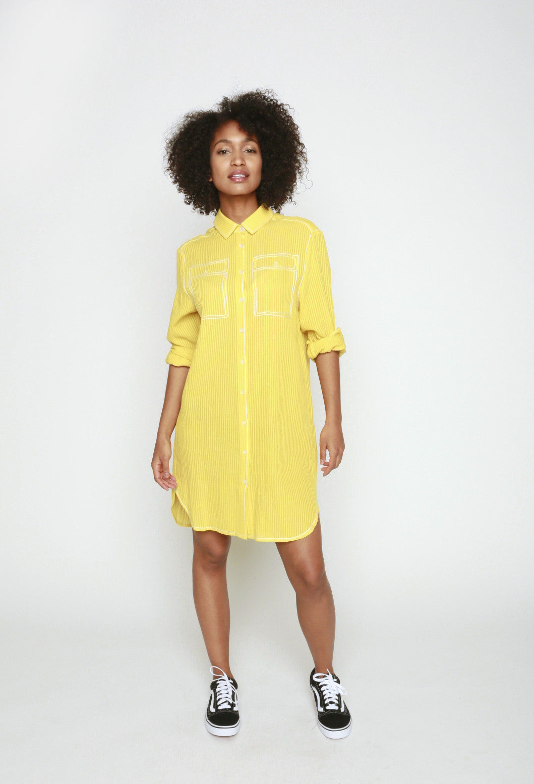 34°N 118°W Pockets Embroidered Shirt Dress