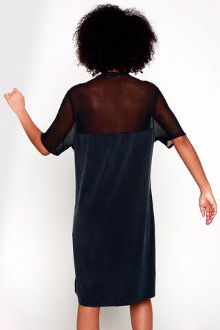 Mateo Cupro Jersey Sheer Back Vneck Dress