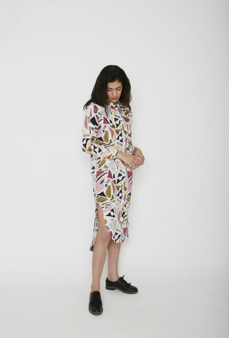 34°N 118°W Busby Printed Shirt Dress