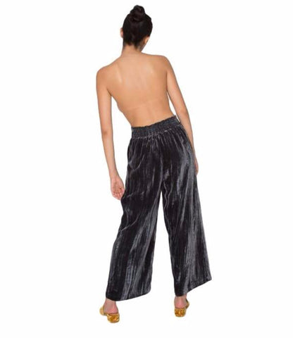 Angela Crinkled Velvet Pull-On Pant