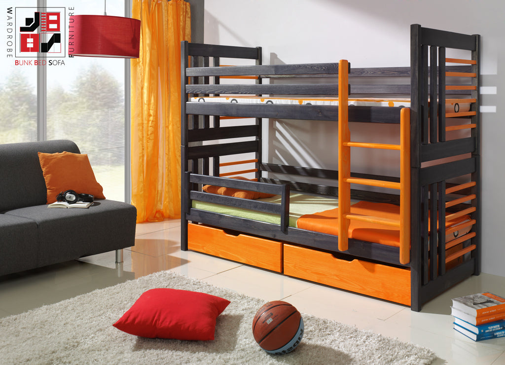 ROLAND II - Safety and well built bunk bed with drawers