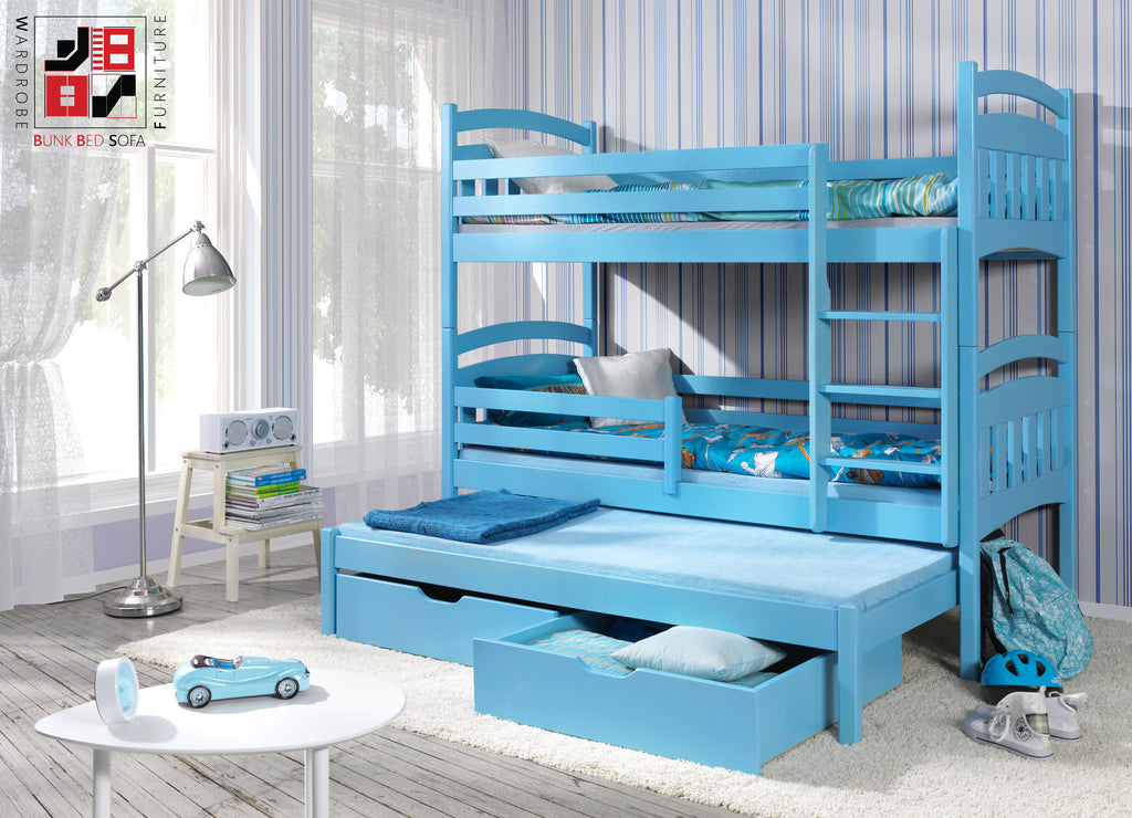 JAC III - Classic wooden triple bunk bed with drawers