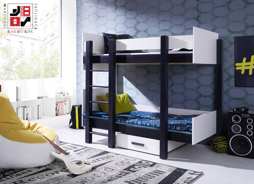 ASTOR funky designed asymmetrical solid bunk bed