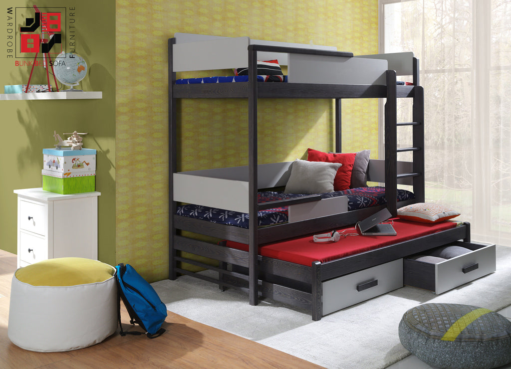 BUENO III - Solid triple bunk bed with great functional