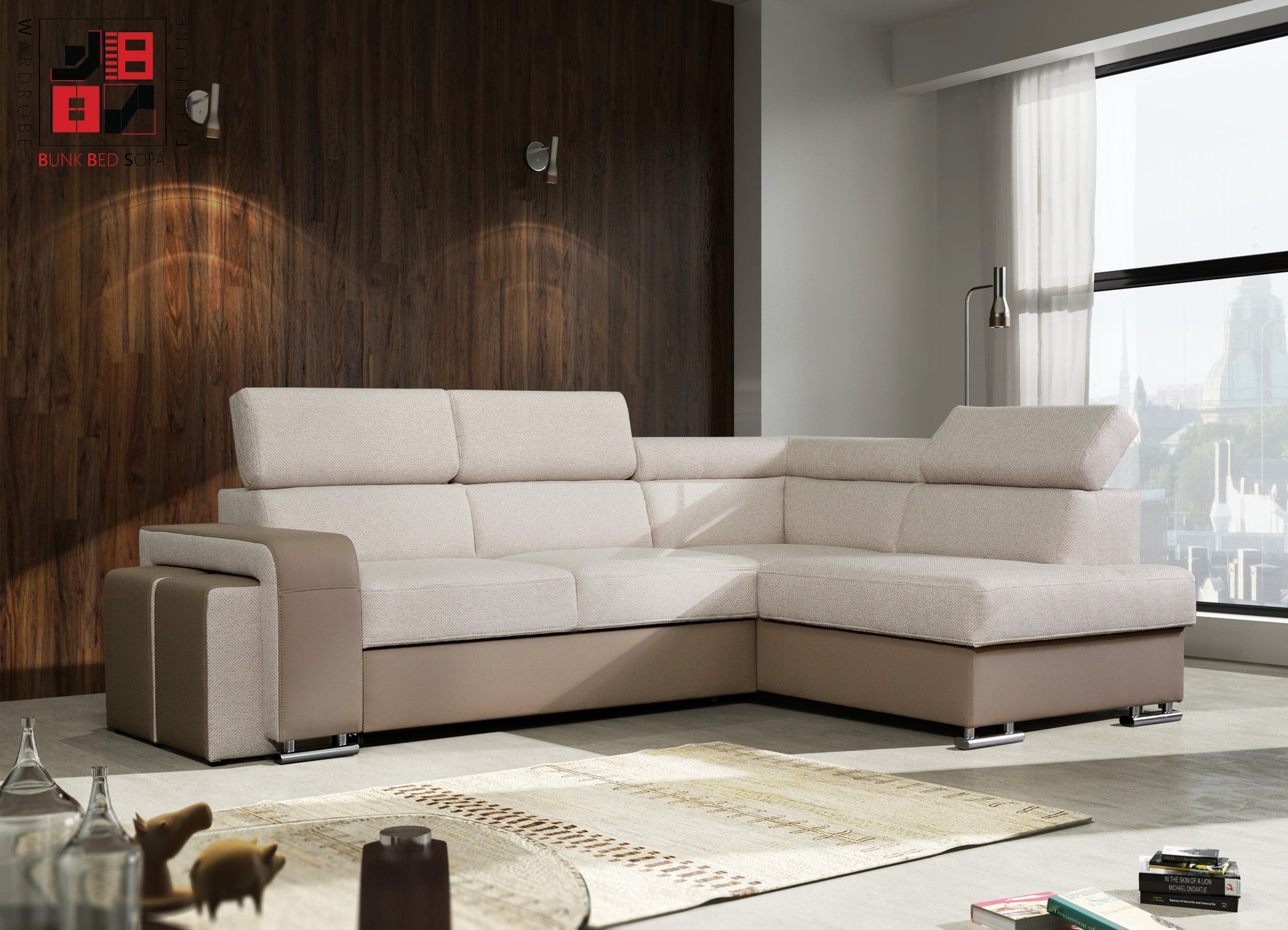 AGORA Extraordinary corner sofa bed with additional pouffes &gt