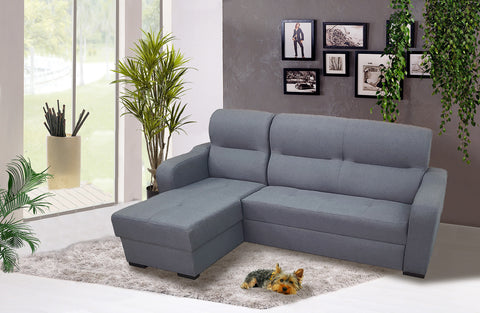 VICKY - Ergonomic Corner Sofa Bed with Storages and Pull Out Bed >220x160cm<