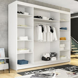 ARCTIC 7 - 3 Sliding door wardrobe with LED Lights, hanging rail and great situated shelves >250cm<
