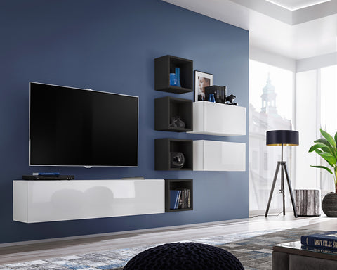 BALI 7 elegant and modern wall unit with high gloss fronts