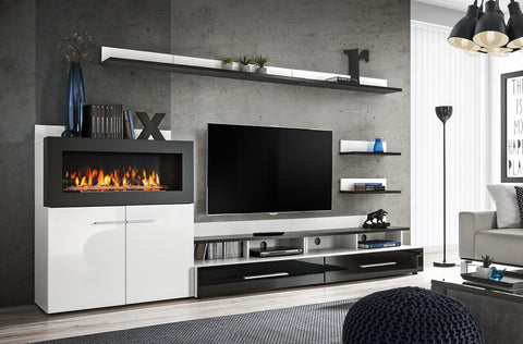 SANTIAGO Classy and Unique Wall Unit with Fireplace