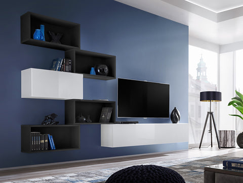 BALI 8 elegant and modern wall unit with high gloss fronts